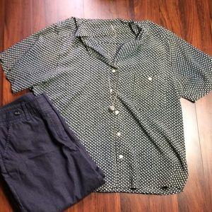 Tops - Black Printed Short Sleeve Blouse G1